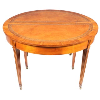 1940s French Leather Top Round Dining Table