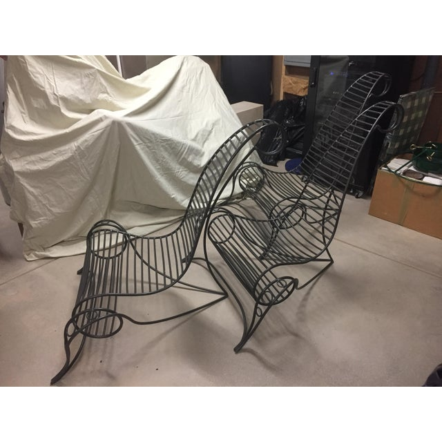 Wrought Iron Artisan Sculpture Chairs - Set of 3 - Image 6 of 6