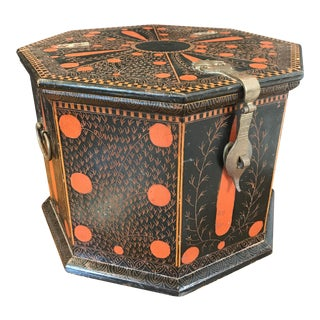 Vintage Hand-Painted Lidded Octagonal Box