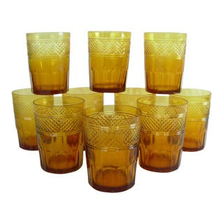 Antique Amber Color Crystal Glasses - Set of 10