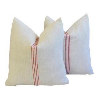 Vintage French Red Striped Gain Sack Feather/Down Pillows - a Pair