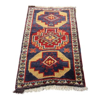"Vintage Tribal Oushak Turkish Rug- 1'10"" X 3'"