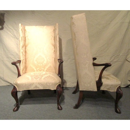 Upholstered Gold Wing Chairs - A Pair - Image 3 of 5