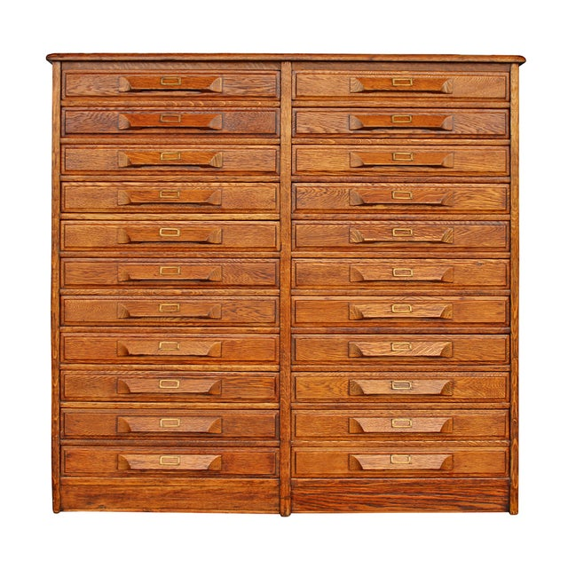 Antique Oak Double Drawer Printer's Cabinet - Image 1 of 5