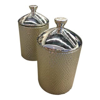 Textured Metallic Candle Holders - A Pair