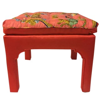 Billy Baldwin Stool in Hermès Silk Fabric