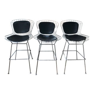 Leather & Chrome Bar Stools - Set of 3