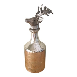 Vintage Mercury Glass Decanter with Deer Stopper