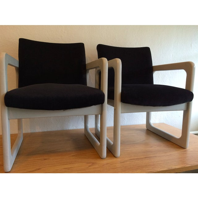 Mid-Century Black Arm Chairs - Image 6 of 7