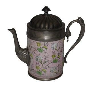 English Enamel Pewter Coffee Pot Pitcher