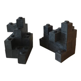 Black Lego Block Bookends - A Pair