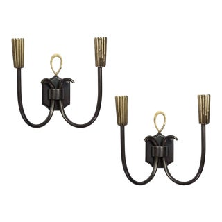Pair of Custom Design American Brass Wall Sconces