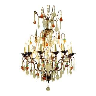 Vintage Venetian Murano Crystal Fruit Chandelier