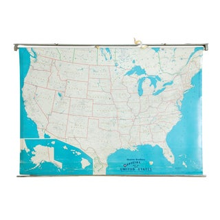 Vintage Hearne Brothers Usa Pull Down Map