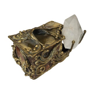 Brutalist Brass Copper & Quartz Crystal Sculptural Box