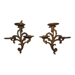Ornate Wooden Display Shelves - A Pair