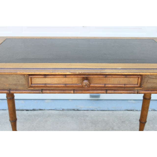 Faux Bamboo Desk with Leather Inlay - Image 6 of 11