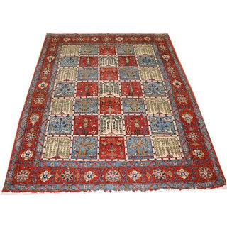 Vintage Persian Colorful Panel Design Qum Rug - 4′7″ × 6′10″