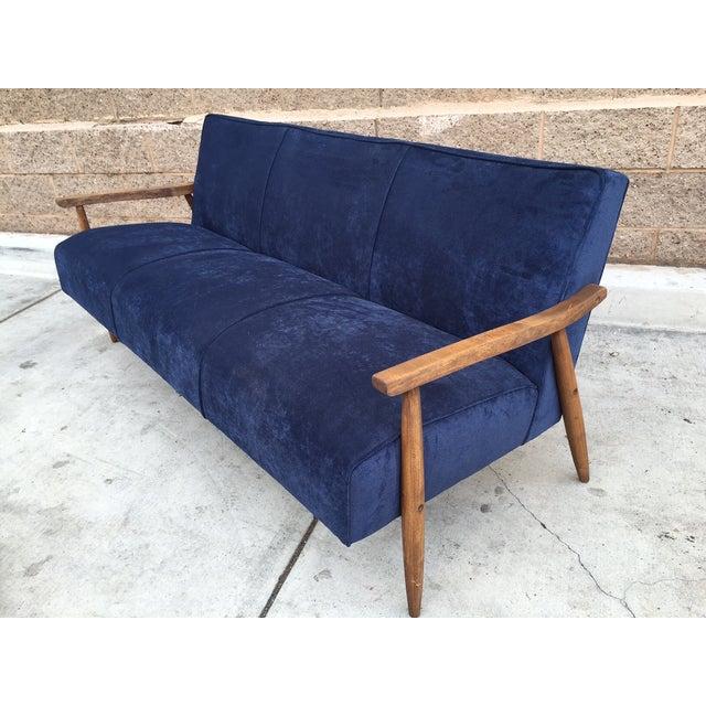 Mid Century Atomic Velvet Sofa - Image 2 of 4