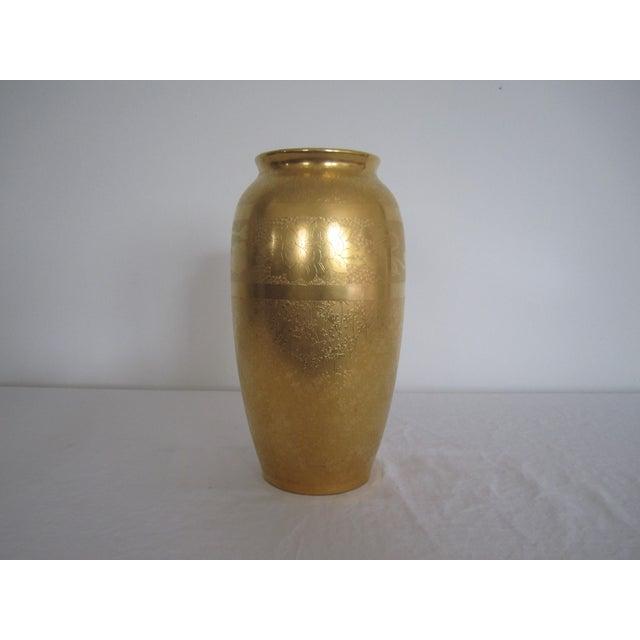 Image of Embossed Pickard Gold & Porcelain Vase