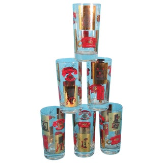 Mid-Century Telephone Highball Glasses - Set of 6