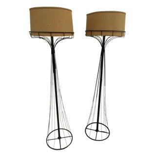 Mid-Century Black Metal Wire Floor Lamps - A Pair