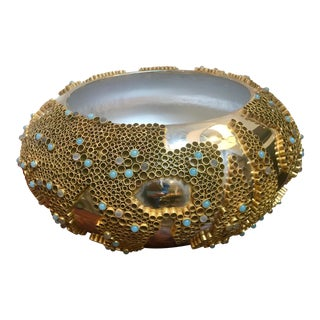 Brass Ring & Stone Encrusted Metal Bowl