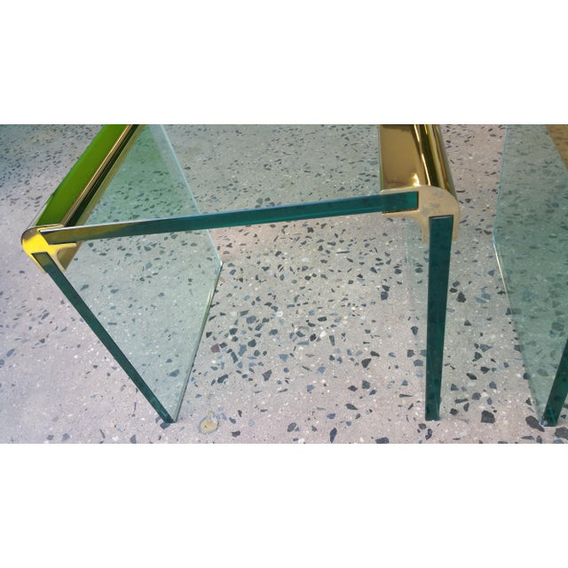 Pace Collection Brass & Glass End Tables- A Pair - Image 7 of 8