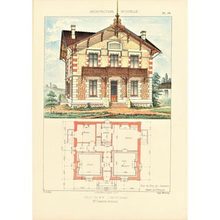 1900 French Chalet Architectural Lithograph