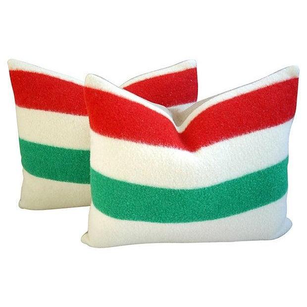 Decorative Pillows Hudson Bay : Custom Hudson s Bay Blanket Pillows - A Pair Chairish