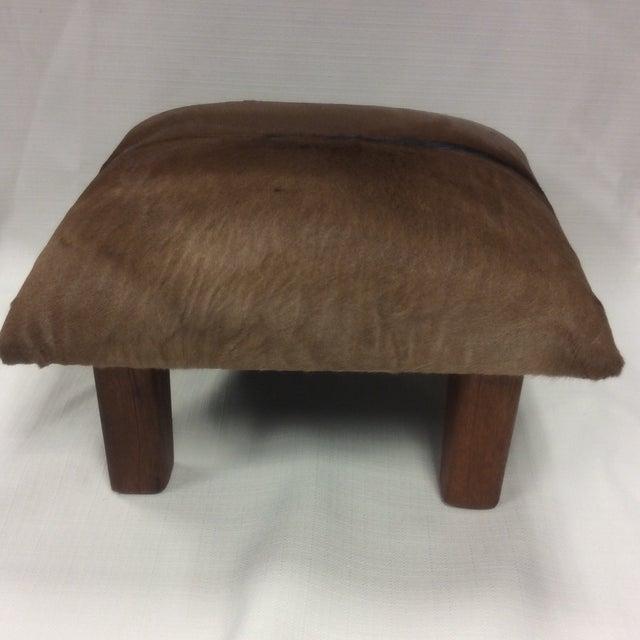 Cowhide Leather & Laurel Wood Footstool - Image 6 of 7