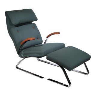 Milo Baughman Leather and Fabric Lounge Chair and Ottoman c. 1960-1970s