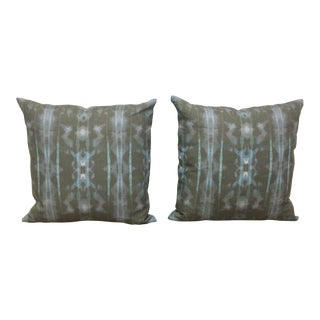 Green & Turquoise Watercolor Pillows - a Pair