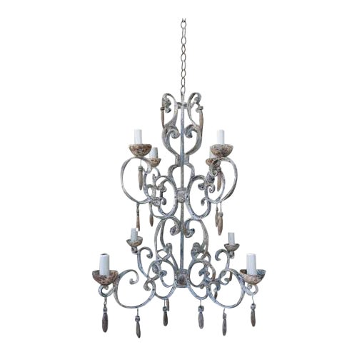 8-Light Painted Italian Chandelier with Drops - Image 1 of 7
