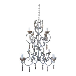 8-Light Painted Italian Chandelier with Drops