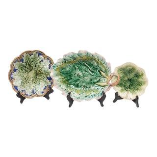 English Majolica Plates - Set of 3