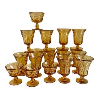 Mid-Century Amber Glasses Set of 19