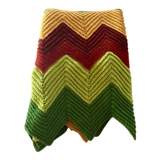 Vintage Handmade Zigzag Afghan Throw