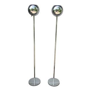 Mid-Century Lightolier Chrome Orb Floor Lamp - A Pair