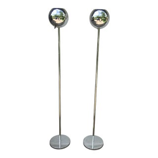 Mid-Century Lightolier Chrome Orb Floor Lamp - A Pair