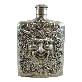 Silver Plated Satyr Art Flask