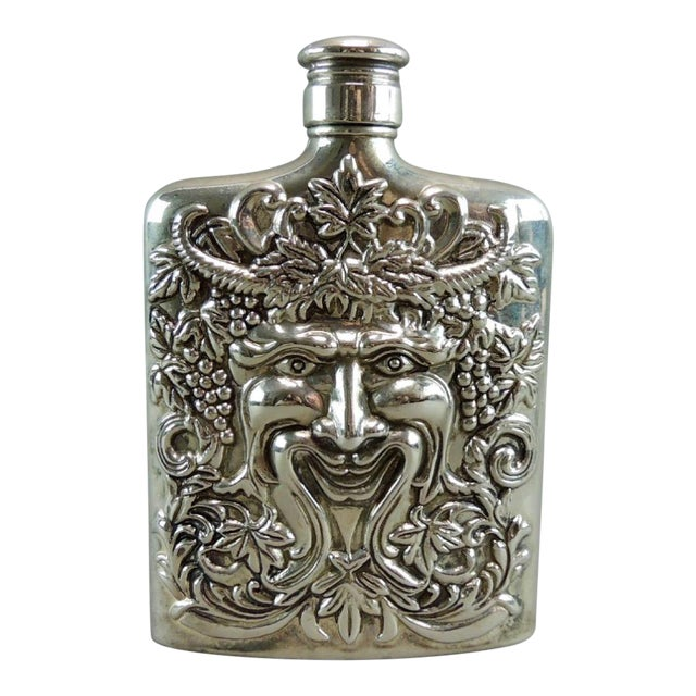 Image of Silver Plated Satyr Art Flask