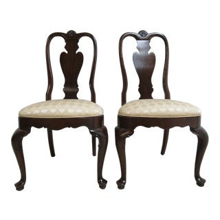 Ethan Allen Georgian Court Shell Carved Side Chairs - A Pair