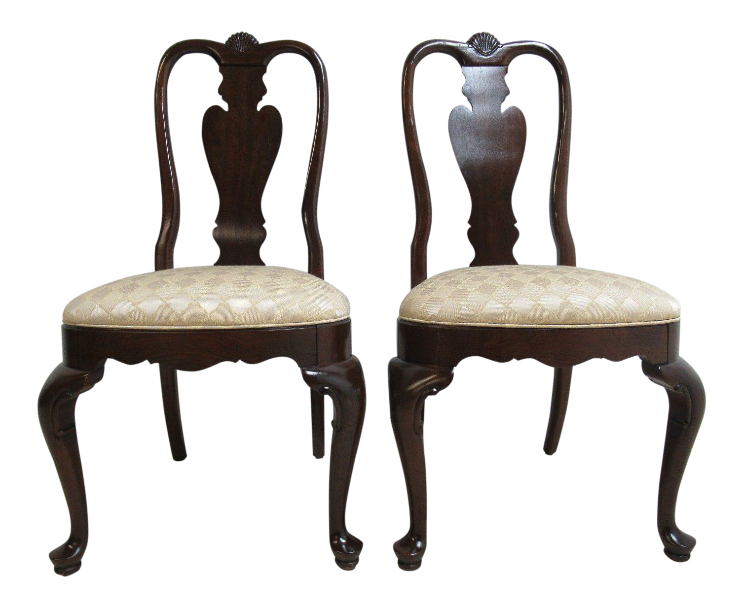 Ethan Allen Georgian Court Shell Carved Side Chairs   A Pair