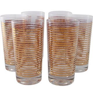 Culver 22k High Ball Cocktail Glasses - Set of 6