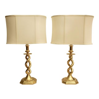 Brass Helix Barley Twist Lamps - A Pair