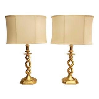Brass Helix Barley Twist Lamps - A Pair