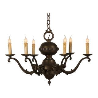 Tailored Vintage French Bronze Finish Metal Chandelier circa 1940