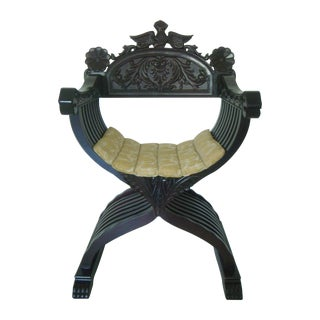 Vintage Italian Style Savonarola Arm Chair