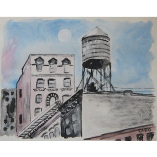 New York Rooftops Abstract Painting by Cleo
